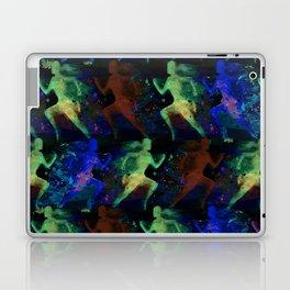 Watercolor women runner pattern on dark background Laptop & iPad Skin