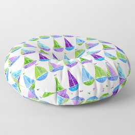 Watercolor colorful boats Floor Pillow