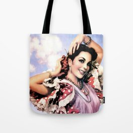 Jesus Helguera Painting of a Delightful Mexican Calendar Girl Tote Bag
