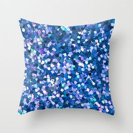 Dazzling Blue Sequences (Color) Throw Pillow