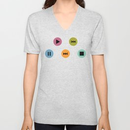 Music Player Icons Polka Dots (Multicolor on White) Unisex V-Neck