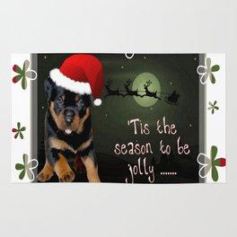 Tis The Season To Be Jolly Cute Rottweiler Christmas Rug