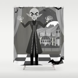 evil bald vampire Shower Curtain