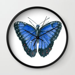 Blue Morpho butterfly watercolor painting Wall Clock