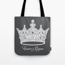 County of Queens | NYC Borough Crown (WHITE) Tote Bag