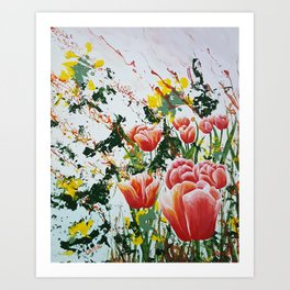 Edge of a tulip garden Art Print