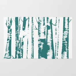 Old Growth Birch Forest in Blue Rug