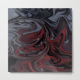 Grey & Red Abstract Painting Metal Print