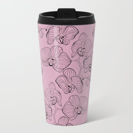Retro . Orchid flowers on a pink background . Metal Travel Mug