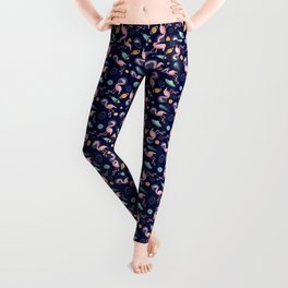 Flamingos In Space Leggings