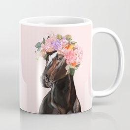Horse with Flowers Crown in Pink Coffee Mug