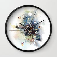 earthbound Wall Clocks featuring Big Bang by Travis Clarke