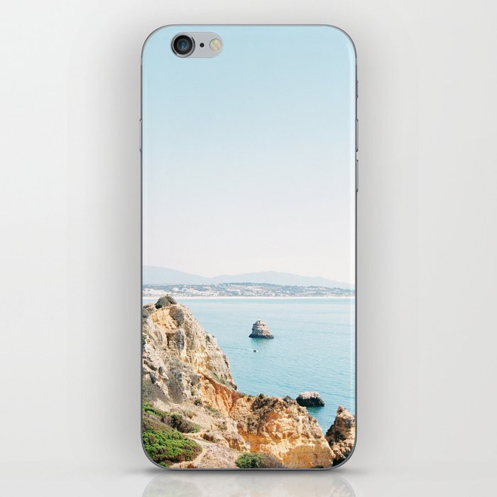 Coast of Lagos, Algarve in Portugal | Bright and airy seascape photography art iPhone Skin