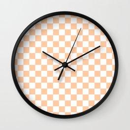White and Deep Peach Orange Checkerboard Wall Clock