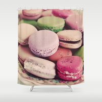 macarons Shower Curtains featuring Sweet Macarons by elle moss