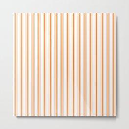 Bright Orange Russet Mattress Ticking Wide Striped Pattern - Fall Fashion 2018 Metal Print