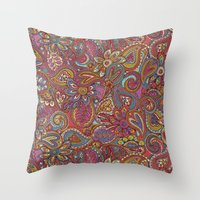 valentines Throw Pillows featuring Valentines Paisley by Lidija Paradinović Nagulov - Celandine