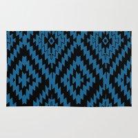 kilim Area & Throw Rugs featuring Blue Black Kilim Rug by suzyoconnor
