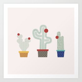 We are 3 cactus! Art Print
