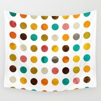polka dot Wall Tapestries featuring Autumnal polka dot by cafelab