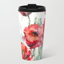 Watercolor red poppies flowers Travel Mug