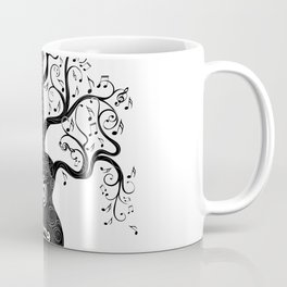 Guitar silhouette with tree branches and music notes Coffee Mug