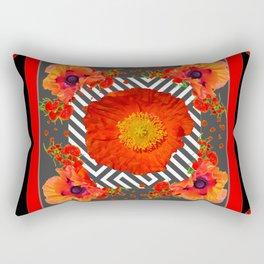 CLASSIC YELLOW-RED POPPIES GARDEN BLACK ART Rectangular Pillow