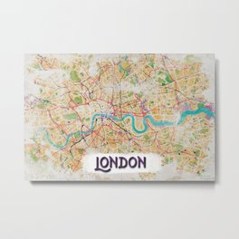 Watercolor Map of London Metal Print