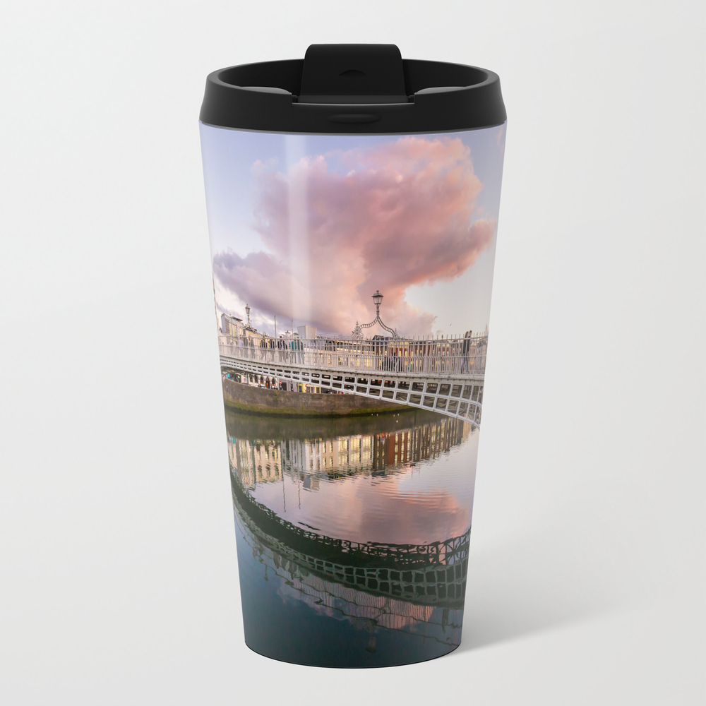 Pink Cloud Over Ha'penny Bridge Travel Mug TRM8623561