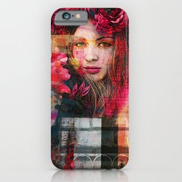 Beautiful flower woman - digital art by Iona Art Digital iPhone Case