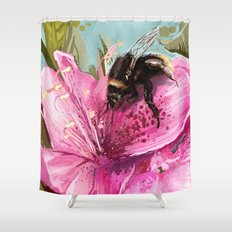 Bee on flower 17 Shower Curtain