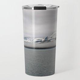 Fog between Arctic Ocean and glacier mountains Travel Mug