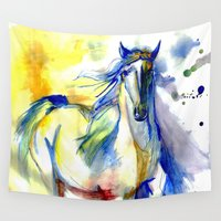 mustang Wall Tapestries featuring Watercolor Mustang by Madkazer Designs