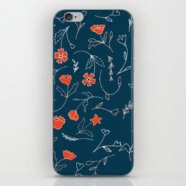 Orange pink pastel navy blue modern floral iPhone Skin