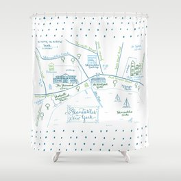 Skaneateles, New York Illustrated Calligraphy Print Shower Curtain