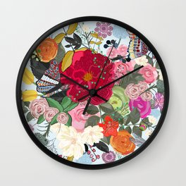 Spring Time Colorful Vibrant Colored Artistic Flowers Bouquet With Butterfly and Dragonfly Pattern Wall Clock