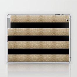 preppy contemporary minimalist great gatsby champagne black gold stripes Laptop & iPad Skin