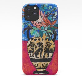 Lions and Tigers Vase with Protea Bouquet iPhone Case