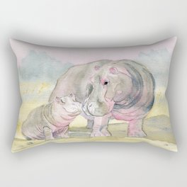 Colorful Mom and Baby Hippo Rectangular Pillow