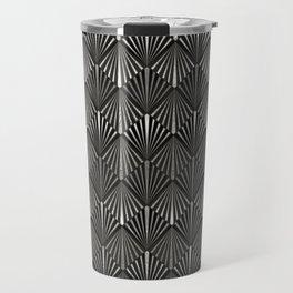 Facing Suns - Silver and Black - Classic Vintage Art Deco Pattern Travel Mug