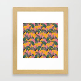 Retro Luxe Lilies Pattern Framed Art Print