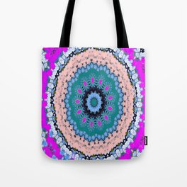 Lovely Healing Mandala  in Brilliant Colors: Black, Teal, Blue, Pink and Fuschia Tote Bag