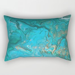 Fluid Nature - Malachite Flows - Acrylic Pour Art Rectangular Pillow