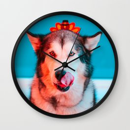 Ready for Turkey! Hungry Puppy at Thanksgiving Wall Clock