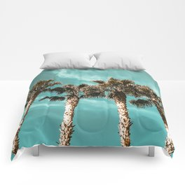 Tropical Palm Tree Photography {1 of 2} | Teal Blue Sky Wind Blown Clouds Comforters