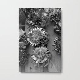 Artichokes, black-and-white photography Metal Print