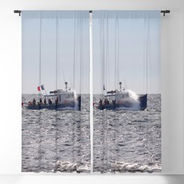 Watercolor Landscape Ocean with Boat 03, Spray Blind, Nova Scotia, Canada Blackout Curtain