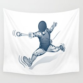 Fencer. Print for t-shirt. Vector engraving illustration. Wall Tapestry