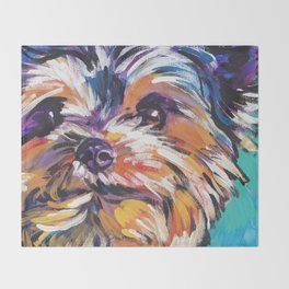 Fun Yorkie Dog Portrait bright colorful Pop Art Painting by LEA Throw Blanket