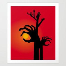 Halloween Raising Ghost Hands Art Print